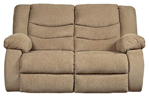 Signature Design by Ashley - Tulen Casual Upholstered Reclining Loveseat - Pull Tab Reclining, Brown