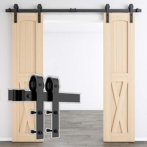 skysen 7FT Double Door Sliding Barn Door Hardware Track Kit -Heavy Duty-Black(J Shape)