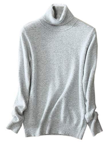 SANGTREE Women's Cashmere Turtleneck Long Sleeves Lightweight Pullover Sweater, Light Gray, US L(12-14)