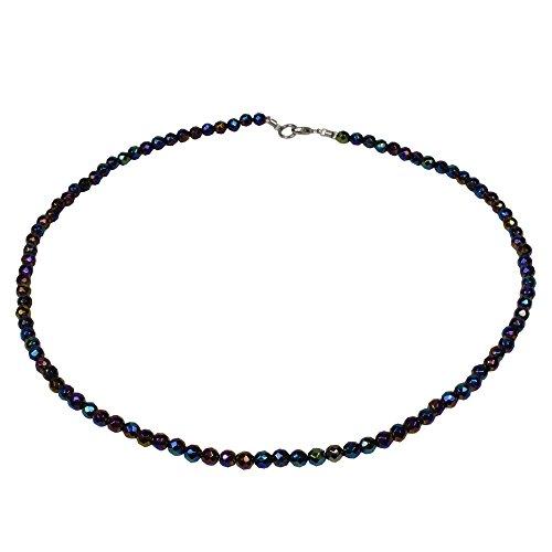 Funk-Collier Edelsteinkette Regenbogen Achat facettiert, ca. Ø 4.5 mm, Damen, ca. 41 cm, 925oo SI Schloß