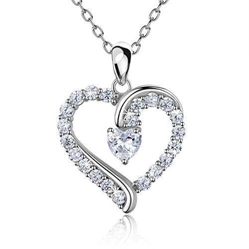 925 argento sterling cuore collana - Billie Bijoux 'sei l'unico' Platinum placcato diamant amore collanina bella donna gioiell