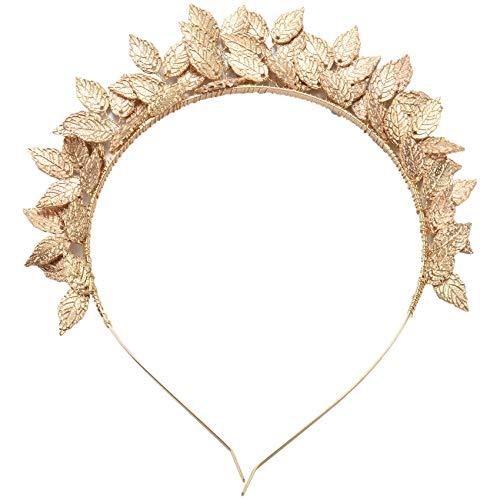 Senmubery Griechische Goettin Blatt Krone Barock Koenigin Gold Farbe Krone Tiara Hochzeit Braut Stirnband Haarschmuck Haarteil