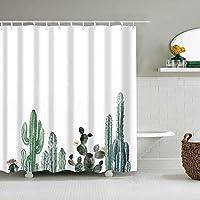 トロピカルサボテンシャワーカーテン花植物防水生地布カーテンバスルームデコレーションプリントバスアクセサリー-W180xH180cm