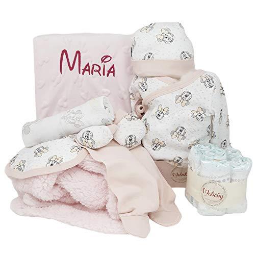 Baby Disney de Mababy - Set de Regalos Bebé Personalizada - Canastilla con el nombre del Recién Nacido (Rosa)