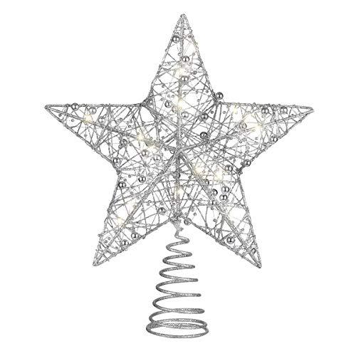 TOYANDONA Weihnachten Glitter Star Tree Topper Beleuchtete Weihnachten Baumkronen Stern mit Perlen Weihnachten Weihnachten Baum Party Dekoration (Silber)