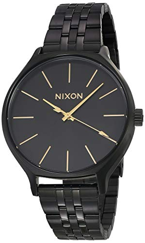 NIXON Clique A1249 - All Black - 50m Water Resistant Women's Analog Classic Watch (38mm Watch Face, 17mm-15mm Stainless Steel Band)