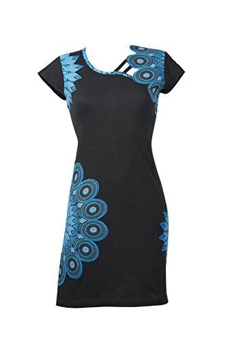Filosophie Außergewöhnliches Ethno Kleid mit femininen Details und bunten Stickereien – 100{b7ecf3b2c3bab0a069be8e81431e485a7ffac47bd3a94132d8c135ab558e021f} Baumwolle - SUNDARI (XXL)