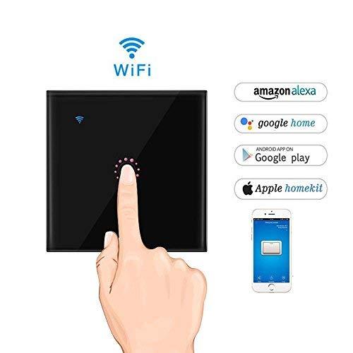 Interruttore Wifi con LED Touch Screen Casa Intelligente Interruttore Smart Supporto Controllo Remoto Tramite IOS Android App Google Home e WeLink Interruttore Luce da Parete (#1, Nero)