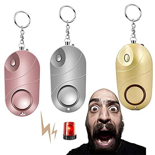 Juego de llavero de alarma de autodefensa personal, seguro con luces LED, alarma de seguridad de emergencia, herramientas de alerta de dispositivo anti-lobo (3 unidades)
