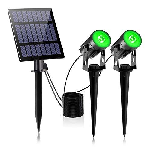 2W Solar Spotlights,T-SUNUS IP65 Waterproof Outdoor Solar Lights Landscape Lighting Wall Light Auto On/ Off with 2 Green Dual Spot Headlamp for Tree,Patio, Yard, Garden