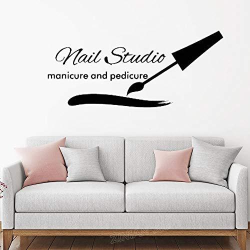 Nagelstudio Manicure Pedicure Vinyl Muursticker Sticker Schoonheidssalon Wanddecoratie Kunststicker Nagellak Nagelverzorging Muurschildering 68.4x30cm