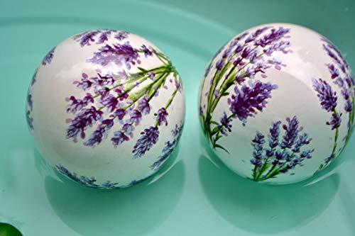 Maison en France Schwimmkugel, D= 10 cm- 2 St.hübsche Dekokugeln Lavendeldesign aus Keramik-stabile Ausführung - für Haus und Garten