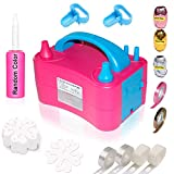 Gifts2U Electric Balloon Pump, 230V 400W Portable Dual Nozzles Air Inflator with 20 Flower Clips, 2 Tying...