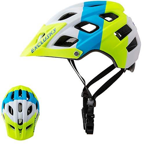 Exclusky Mountain Bike Helmet, Easy Attached Visor Safety Protection Comfortable Lightweight Cycling Mountain & Road Bicycle Helmets for Adult Men Women (white+blue+yellow)