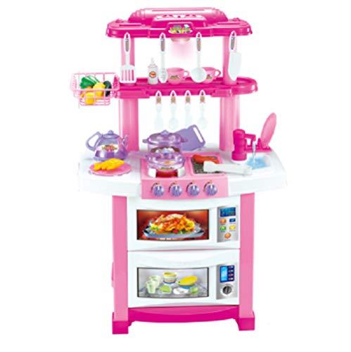 COSMOLINO Spielküche Spielzeug Küche mit Zubehör Küchenspielzeug SpielKüche mit Kochgeschirr, inkl. Licht und Kochgeräuschen, Mädchen Spielzeug