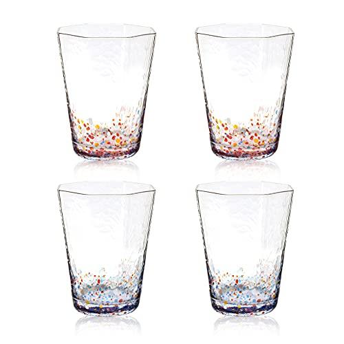 Vasos de Agua Puntos Colored Juego de 4-210ml Vasos de Beber Octogonal - Copas de Vidrio para Zumo, Postres, Leche, Té, Café, Cóctel