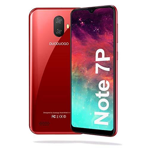 Teléfono Móvil Libre, DUODUOGO Note 7P Android 9 Smartphone Libre, 5.5 Pulgadas HD Pantalla, 8MP + 5MP, 16GB ROM 128 GB Ampliables, 3400 mAh Batería, 4G Smartphone Barato Dual SIM, Face ID,GPS -Rojo