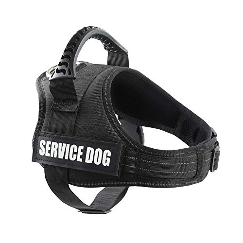 """pawshoppie Real Reflective Service Dog Vest Harness 2 Free Removable Service Dog 2 """"Emotional Support"""" Patches, Woven Polyester & Nylon, Comfy Soft Padding (XS(Girth:18-22''), Black)"""