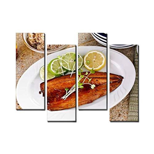 Wocatton Fish Fillet with Teriyaki Sauce Wall Art Background Decor Pictures Print On Canvas Art Stretched and Framed Perfect Home Decoration