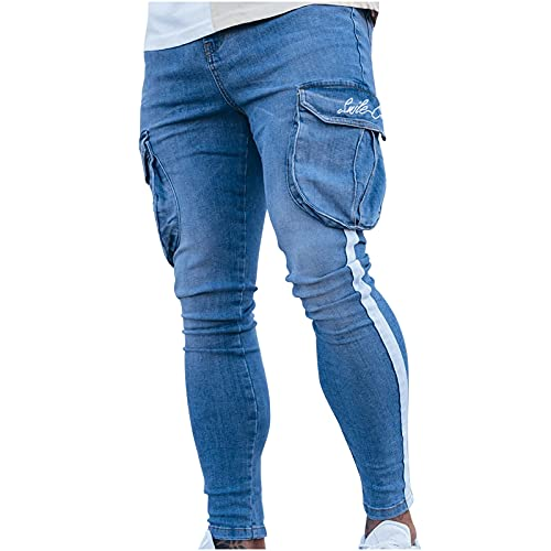 2021 Nuevo Pantalones vaqueros para Hombre,Pantalones Casuales Moda Jeans rotos trend largo Pantalones Skinny...