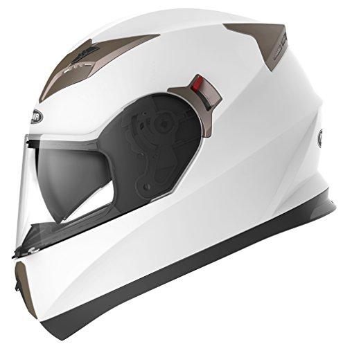 YEMA Casco Moto Integral ECE Homologado YM-829 Casco de Moto Scooter para Mujer Hombre Adultos con Doble Visera -Blanco-L
