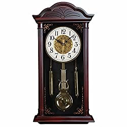 pendulum wall clock, grandfather clock, vintage retro grandfather clock, silent decorative pendulum clock, used for living room, dining room, kitchen, office and home decoration (23.4x11.6 inches)
