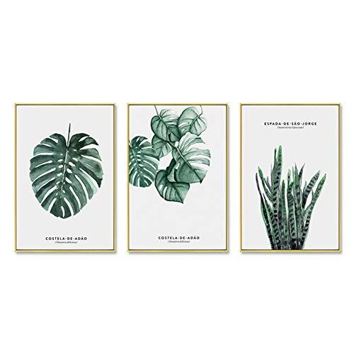 ZFFLYH Wandbilder, Set Von 3 Botanische Drucken, Wohnzimmer-Dekoration Gemälde Moderne Minimalist Gemälde Sofa Hintergrund Wandmalerei (30 * 40CM),D,Athens White