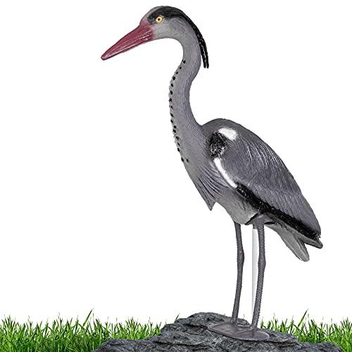 Gardigo Reiher Figur | Gartenfigur zur Reiher Abwehr, mit Erdspieß für sicheren Halt | Schutz gegen Fischreiher