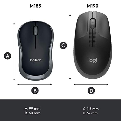 Logitech M185 Wireless Mouse, 2.4GHz with USB Mini Receiver, 12-Month Battery Life, 1000 DPI Optical Tracking, Ambidextrous PC / Mac / Laptop - Grey