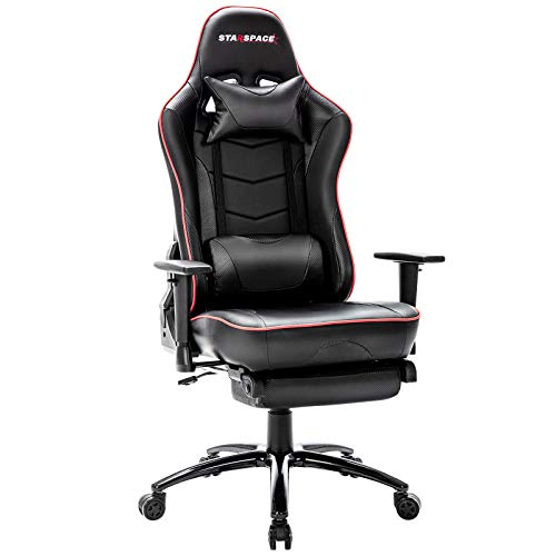 STARSPACE Massage Gaming Chair with Footrest, High-Back Swivel Metal Base Adjustable Height Tilt Angle Arms Ergonomic Racing Style Computer Office Desk Chair, Black