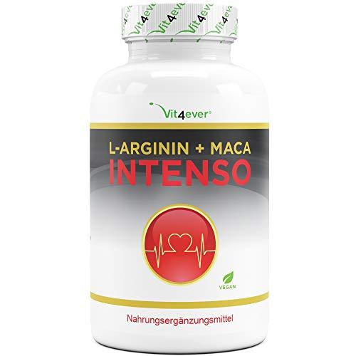 L-Arginin + Maca Intenso 240 Kapseln - Extra hochdosiert: 9800 mg je Tagesdosis - 2 Monatsvorrat - Pflanzliche Nahrungsergänzung ohne unerwünschte Zusätze - Laborgeprüft - Natürlich - Vegan