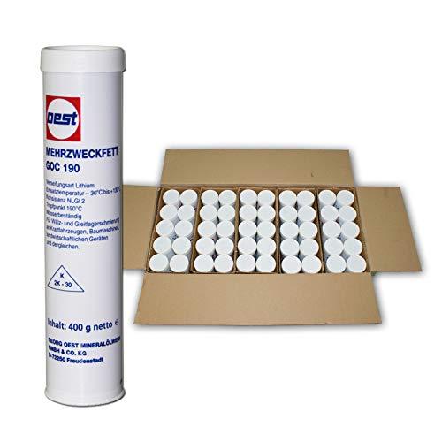 50er Set Mehrzweckfett Kartusche für Fettpresse Einhandpresse GOC 190 je 0,4 kg, Schmierfett/Langzeitfett / Fettkartusche