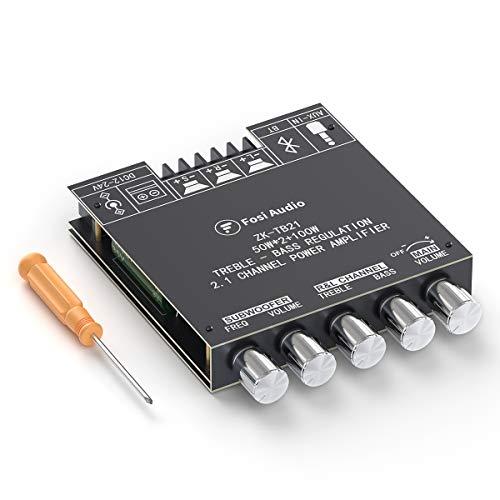 Fosi Audio ZK-TB21 Bluetooth 5.0 Stereo Audio Amplificatore Piastra 2.1Channel Mini Digital AUX Amp Module Controllo dei bassi e degli alti per altoparlante passivo Subwoofer TPA3116D2 50Wx2+100W