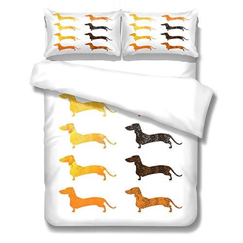 GloEnjoy 3 Pieces Duvet Cover Set – Duvet Cover and Two Pillow Cases Microfibre 3D Digital Print Three-Piece Set, Ultra Soft Microfiber Bedding - Dog,King Size 230 x 220cm
