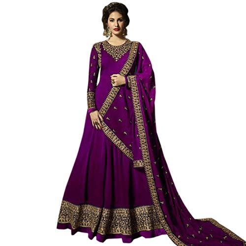 Skyview Fashion Indisches Pakistanisches Hochzeitskleid, Georgette, Salwar Kameez Anarkali, Modern/passgenau, Violett