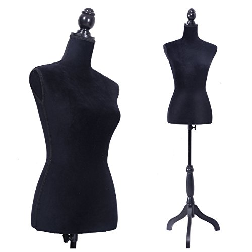 Sandinrayli Black Female Mannequin Torso Dress Form Clothing Display w/Black Tripod Stand