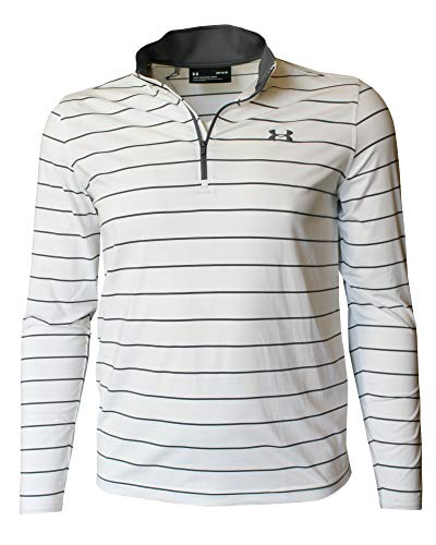 Under Armour Men's Long Sleeve Performance Zip Shirt Athletic Striped Top (White, S)