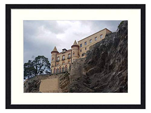 OiArt Wall Art Canvas Prints Wood Framed Paintings Artworks Pictures(20x14 inch) - Castle Maiori Amalfi Coast Sea Campania Beach
