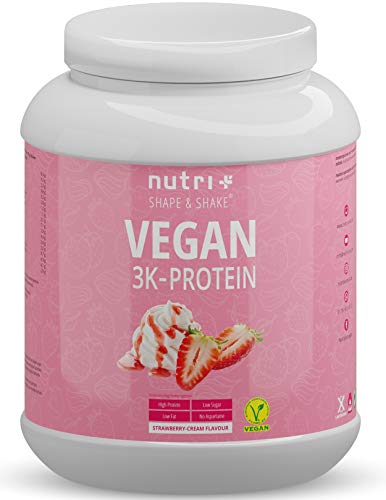 Vegan Protein Powder Strawberry Cream 1kg - 83,7% Protein - 3k Plant Based Drink for Muscle Building and Recovery - Lactose Free Low Sugar - Nutri-Plus Shape & Shake - 1000g