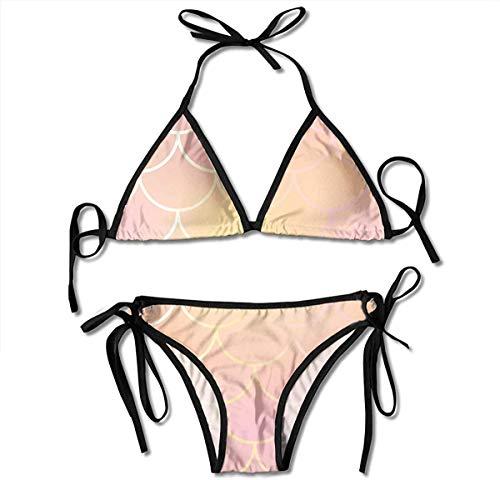 Conjunto de Bikini, Parte Inferior y Superior atadas Traje de baño de Dos Piezas Bikini de Mujer Ropa de Playa, Trajes de baño de Bikini con Estampado Ajustable