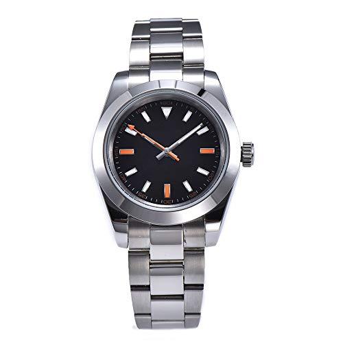 KLMWDSB Polshorloge Automatisch Horloge Mode Nieuwe Gewone Zwarte Wijzerplaat Lichtgevende Handen 40mm Gepolijst 316L Stalen Kast En Staal Armband