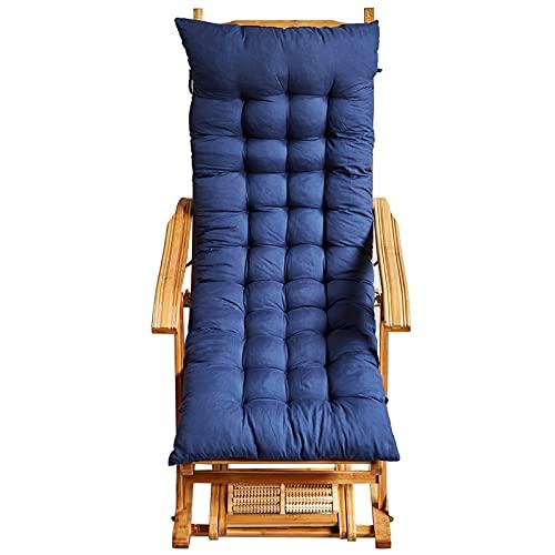 Moolo Recliner-außenstuhl-Bambus-schaukelstuhl Mit Fußstützen-Scroll-Rad, 5-Gang-Anpassung Für Den Innen- Oder Außenbereich(Size:120cm Cushion,Color:Blau)