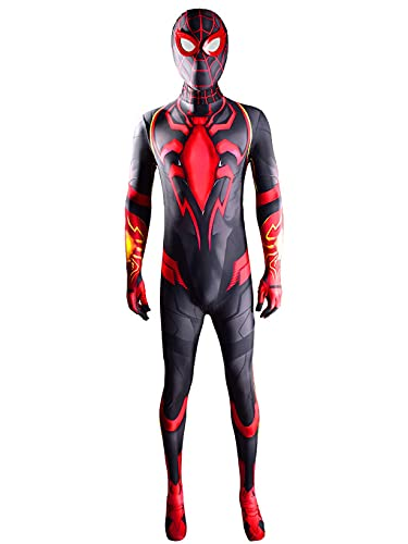 ZYZQ Niño Adulto Spiderman Cosplay Body, Miles de Superhero Morales Morales Vestido de Lujo Tradera Halloween Carnaval Spider-Man Traje 3D Lycra Spandex,Red-Kids~M(125~135cm)
