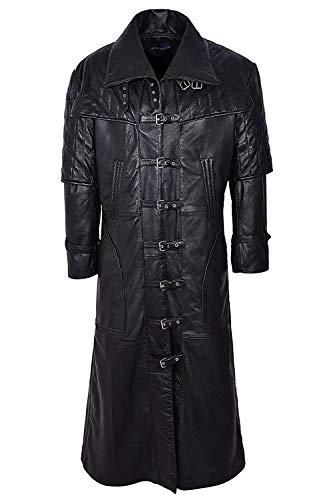 Man longueur style gothique Capitaine vestes en cuir, manteaux réel (UK 3XL / EU 58)