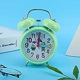 Raguso Reloj Despertador Luminoso de Noche con Campana de Timbre Vintage mecánico, Reloj Despertador de plástico para habitación de niños, decoración del hogar(Green)