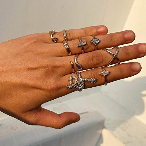 Sethain Clásico Set de anillos Oro Serpiente anillo Cruzar Anillo de dedo Joyas para mujeres y niñas