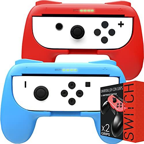 Orzly Grips compatibles con los Joy-Cons de la Nintendo Switch - Pack DE Dos (1x Rojo y 1x Azul) Grips Universales para Usar con los JoyCons de la Nintendo Switch