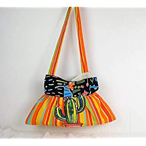Handgenähte Handtasche in orange gelb gestreift, mit Paillettenmotiv Kaktus, Schultertasche, Shopper, Umhängetasche