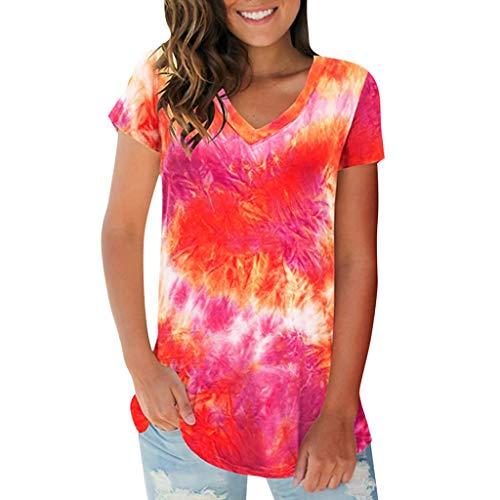 Covermason Tee-Shirt Femme ete 2020 T-Shirt Col V Tie-Dye dégradé Manches Courtes Sweatshirt Blouses Loose Hauts Top Chic Tee Casual Mode Grande Taille S-2XL(Rouge,XXL)