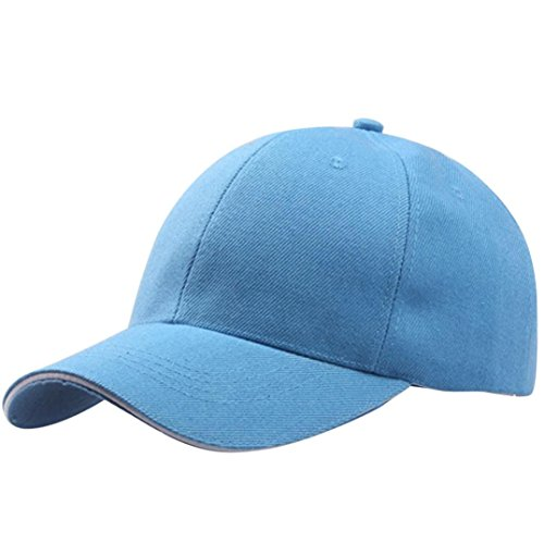 Baseball Kappe Unisex, Sunday Frauen Baseball Cap Snapback Hut Hip-Hop Einstellbar Outdoor Sports Pure Farbe Hüte (Hellblau)